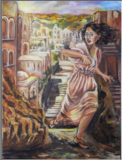 Rachel beweint ihre Kinder(100x80;  acryl,oil/canvas)
