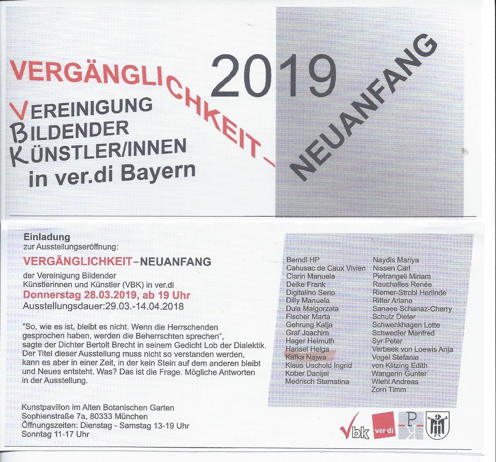 VBK Ausstellung in der alten botanischen Garten  München  2019