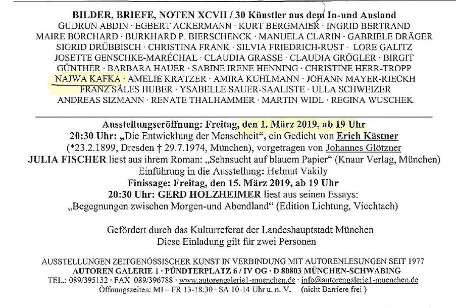 Autoren Galerie 1 München 2019