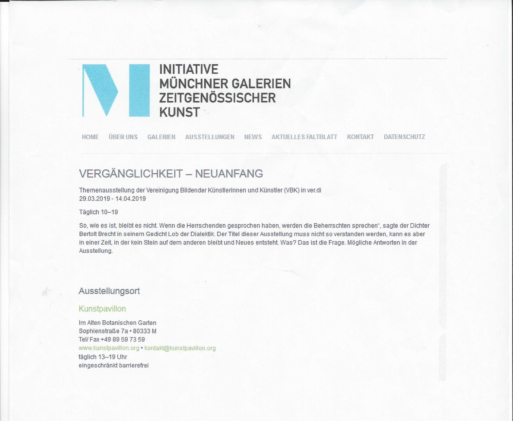 Intiative Münchener Galerien 2019