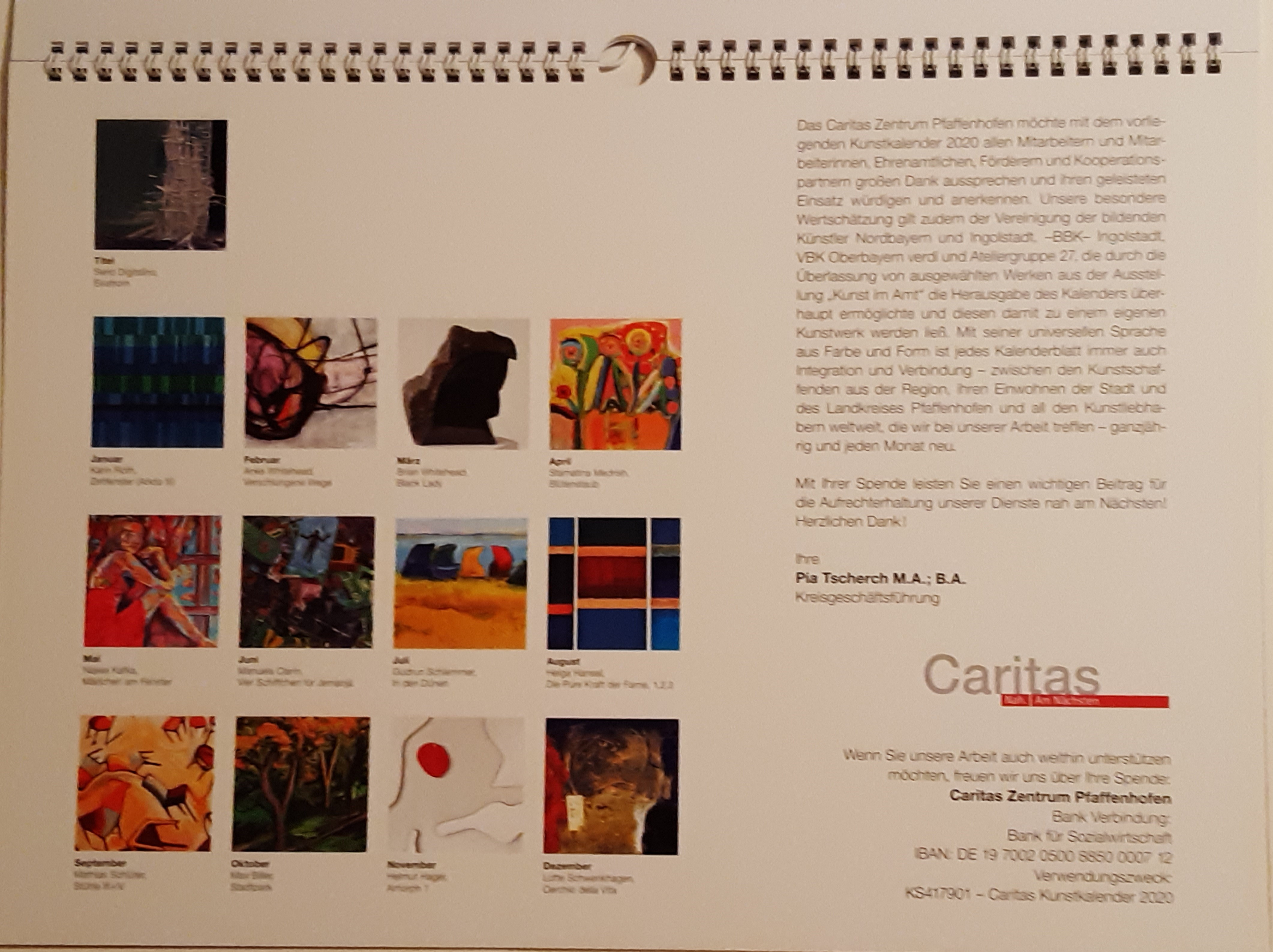 Karitas  kalender-Pfaffenhofen-2020